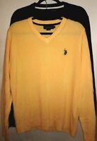 U.S. Polo Assn Men's Sz L Sweaters Set of 2 V-Neck 100% Acrylic Pony Pullovers