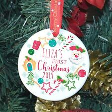 Baby's First Christmas Bauble Personalised Ceramic Christmas Tree Wreath