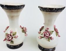 Pair Of V. Bassano  Floral Vase Made In Italy