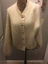 LL Bean Sweater L Wool White Fuzzy  MoHair Beige Ivory L.L. Button Vintage