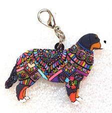 Bernese Mountain Dog Acrylic Double-Sided Purse Charm Dangle Zipper Pull Jewelry