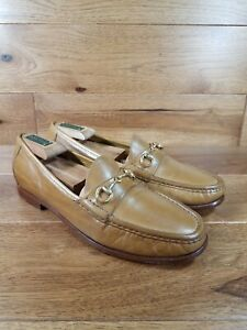 Cole Haan Men's Honey Tan Leather Gold Horse Bit Slip On Loafer Shoes Size 9.5 M