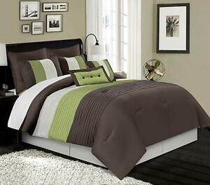 Brown Green Beige Stripe Faux Silk 8pc Comforter Set Full Queen Cal King Bedding