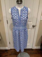 J. McLaughlin Blue & White Split Neck Geometric Patterned Fit/Flare Dress, Sz M