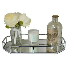 Silver Metal Octagon Shape Serving/Dressing Table Tray With Mirror Glass