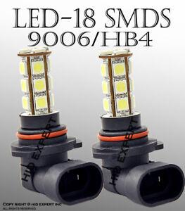9006 HB4 Xenon Bright LED 18 SMD Super White Bulbs 6000K Fit Fog Light Only 383O