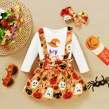 Infant Baby Girls Halloween Romper Bodysuit+Cartoon Suspender Skirts Outfits