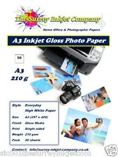 A3 INKJET HIGH WHITE GLOSS PHOTO PAPER 210G WATER RESISTANT PAPER 50 SHEETS