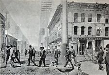 CROSSING A STREET IN DENVER at the end of 19th - Heliogravure from 19th century