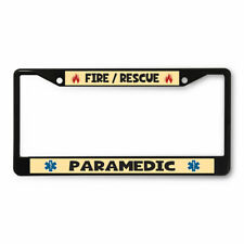 License Plate Frame Vinyl Insert Fire Rescue Paramedic Flame Symbol Profession