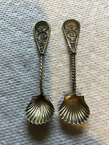 Antique Vintage Sterling Silver Salt Spoons