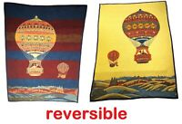 Hot Air Balloon Throw Blanket 71x54 Vintage Acrylic Blend Reversible Yellow Blue