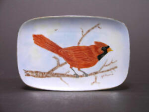 Early to Mid 20th C Hand Painted Plate of Red Cardinal Branch Signed J.A. Downs