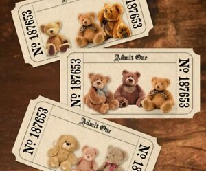 12 Assorted Teddy Bear's Picnic 'Admit One' Tickets