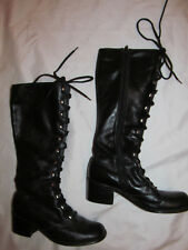 vintage 60's go go mod faux leather front lace up zip vegan insulated boots 7.5