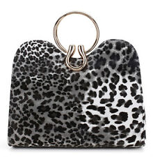 Nima Accessories Leopard Print Handbag Purse with Gold Ring Handle Black