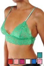 Women's Floral Lace Triangle Bra Bralette Sheer Unpadded Unlined Bralet Top