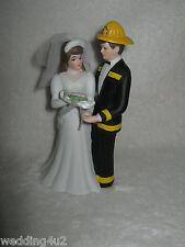 Wedding Reception Party Fireman Firefighter Custom Paint Cake Topper