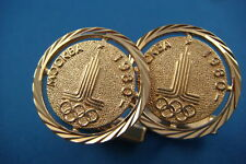"AMAZING RUSSIAN ORIGIN CUFFLINKS 14K ROSE GOLD ""MOSCOW OLYMPIC GAMES 1980"""