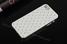 Gypsophila Crystal-Studded Leather Textured Luxury iPhone 5S SE Case Cover-White
