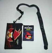 10 Black Angry Bird Lanyard rovio Fast Pass ID Badge Holder Zipper Wallet Pouch