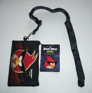 10 Black Angry Bird Lanyard rovio Fast Pass ID Badge Holder Zipper Wallet Pouch