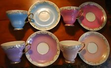 Tall Footed Gold Trim 8pc Teacup Saucer Pastel Colors Japan Hand Painted ANDREA