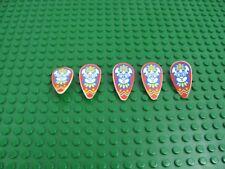 5x LEGO White Ovoid Shield Minifigure Weapon w/Islanders Mask Pattern 6278 6292