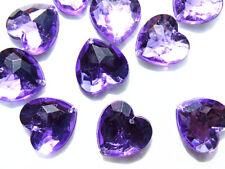 40 Purple Faceted Love Heart Beads 16 mm Acrylic Rhinestones/Gems Stitch On
