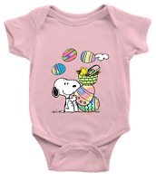 Infant Baby Rib Bodysuit Jumpsuit Romper Clothes Cute Snoopy Easter Eggs Spring