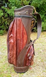 RARE Brown Eel Skin Leather Cart Golf Bag 6 Way Divider W/ Rain Hood
