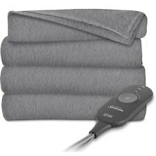 Sunbeam Electric Heated Throw Blanket Fleece, Gray Gray Slate