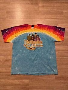 Vintage The Beatles Yellow Submarine Shirt 2000s Liquid Blue Tye-Dye XL