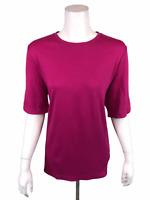 Isaac Mizrahi Women's Essentials Elbow Sleeves Crew Neck Top Fuchsia Large Size