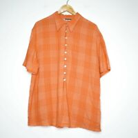 Vintage Adele Palmer Womens Orange Gingham Button Up Shirt Size 16 Made in Aus