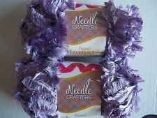 Needle Crafters Feather Boa fashion yarn, grape, lot of 2 (53 yds each)