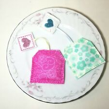 Felt pretend play food tea bag SET - embroidery - handmade