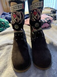 Ed Hardy Dedicated To The One I Love Boots Size 7