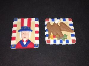 4th Of July Patriotic Eagle Uncle Sam Magnet Lot of 2