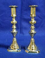 Vintage Pair of Brass Candlesticks, 9 inches tall.