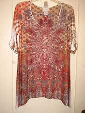 Lovely Orange/Tan Stretchy Slinky Studded Floral Fishtail Sides Top Lg XL1X NWT