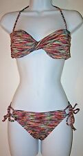 New Roxy 2 Piece Swimsuit TWIST BANDEAU BIKINI TOP Small STRING BIKINI BOTTOM S