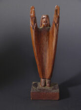Early to Mid 20th C Primitive Modernist Carving of Christ Giving Blessing 11 3/4