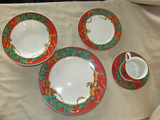 Vintage Misono Christmas Fantasy 5-pc Place Setting Reindeer & Trees EXC