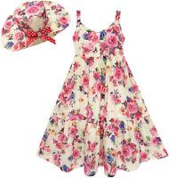 Girls Dress Full Length Flower Print with Hat Flower Pink Age 7-14