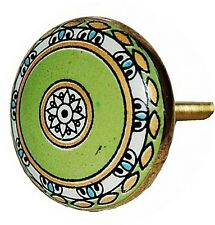 AS MANY* 4CM CERAMIC UNIQUE MOROCCAN STYLE GREEN/GOLD DOOR KNOBS/HANDLES/PULLS