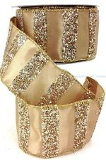 """Christmas Wired Edge Satin Ribbon. Gold with Gold Glitter. 2 1/2"""" W x 10yd"""