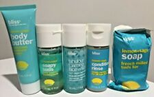 Set BLISS Lemon+Sage pack travel body butter soapy suds conditioning face wash