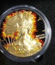 2014 US BURNING WALKING LIBERTY 1oz Silver Ruthenium 24K Gold-Plated Box w/COA #