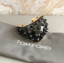 Tom Ford Enamel Gold Plated Black Spike Cuff Bangle Bracelet